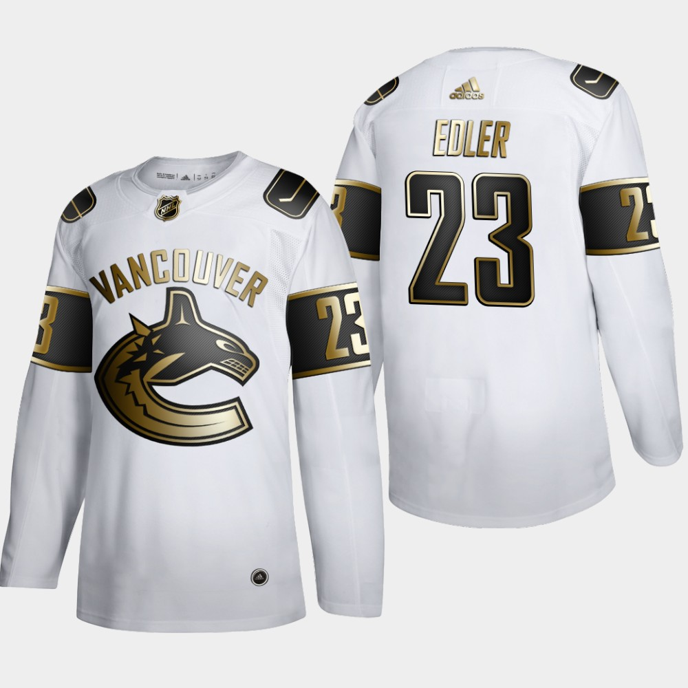 Cheap Men Vancouver Canucks 23 Alexander Edler Adidas White Golden Edition Limited Stitched NHL Jersey
