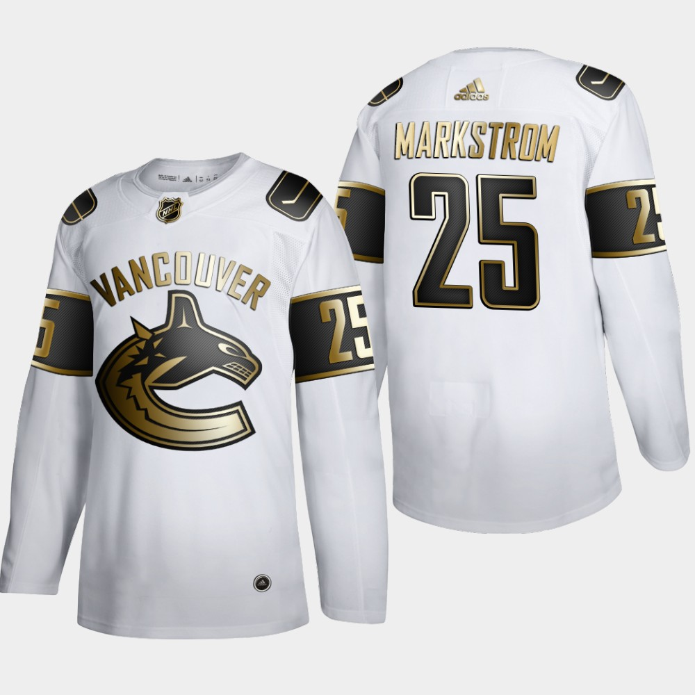 Cheap Men Vancouver Canucks 25 Jacob Markstrom Adidas White Golden Edition Limited Stitched NHL Jersey