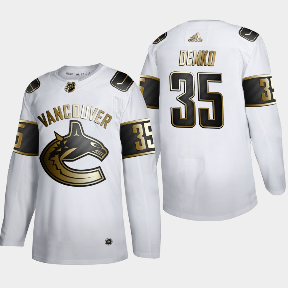 Cheap Men Vancouver Canucks 35 Thatcher Demko Adidas White Golden Edition Limited Stitched NHL Jersey