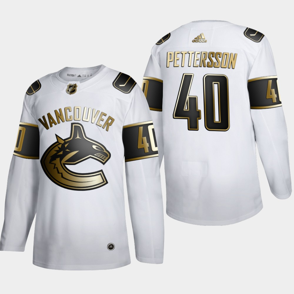 Cheap Men Vancouver Canucks 40 Elias Pettersson Adidas White Golden Edition Limited Stitched NHL Jersey
