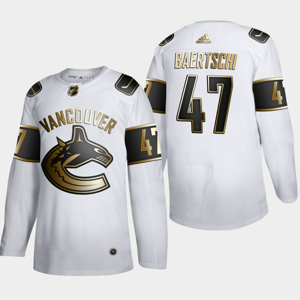 Cheap Men Vancouver Canucks 47 Sven Baertschi Adidas White Golden Edition Limited Stitched NHL Jersey