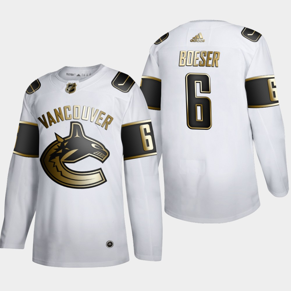 Cheap Men Vancouver Canucks 6 Brock Boeser Adidas White Golden Edition Limited Stitched NHL Jersey