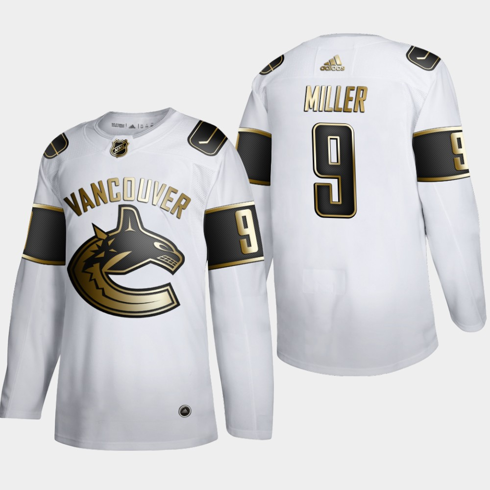 Cheap Men Vancouver Canucks 9 JT Miller Adidas White Golden Edition Limited Stitched NHL Jersey