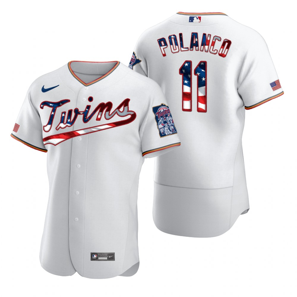 Wholesale Minnesota Twins 11 Jorge Polanco Men Nike White Fluttering USA Flag Limited Edition Authentic MLB Jersey