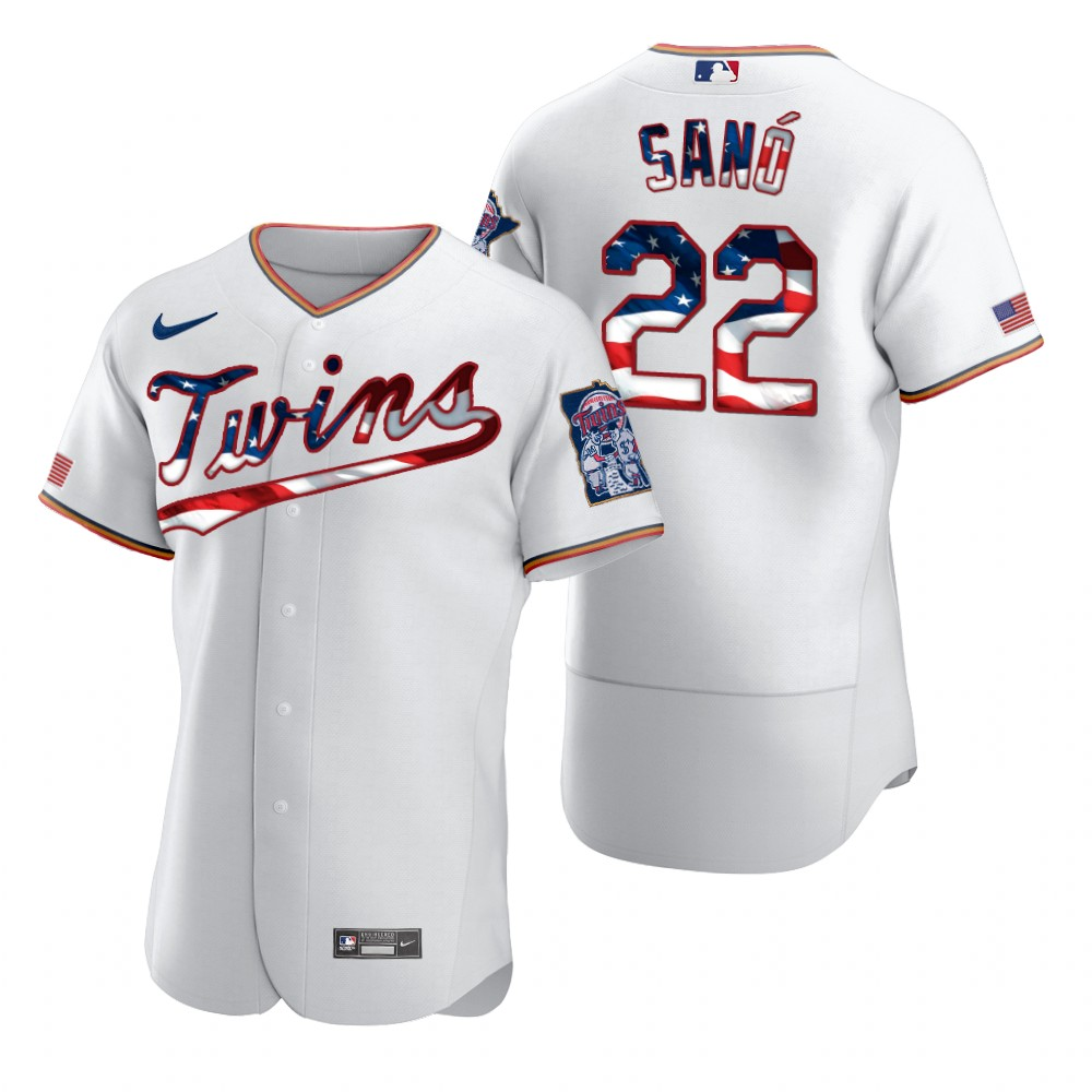 Wholesale Minnesota Twins 22 Miguel Sano Men Nike White Fluttering USA Flag Limited Edition Authentic MLB Jersey
