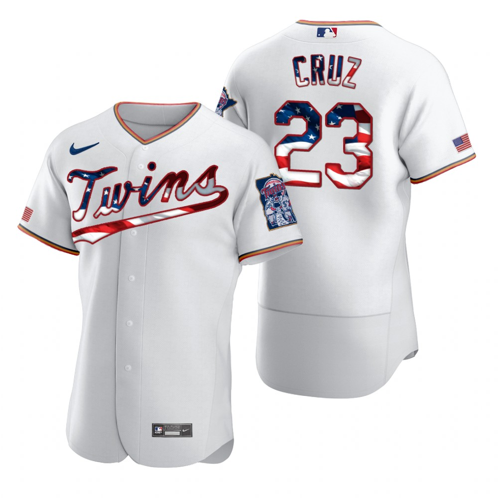 Wholesale Minnesota Twins 23 Nelson Cruz Men Nike White Fluttering USA Flag Limited Edition Authentic MLB Jersey