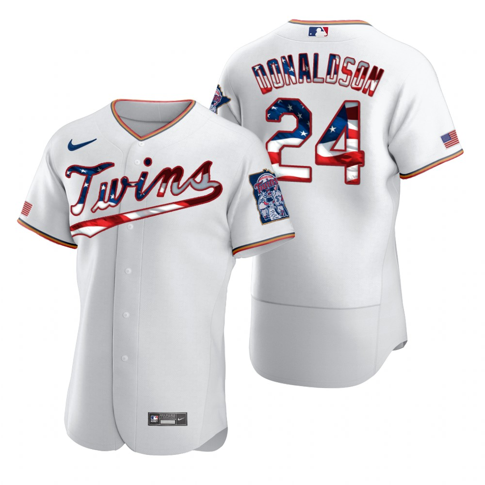 Wholesale Minnesota Twins 24 Josh Donaldson Men Nike White Fluttering USA Flag Limited Edition Authentic MLB Jersey