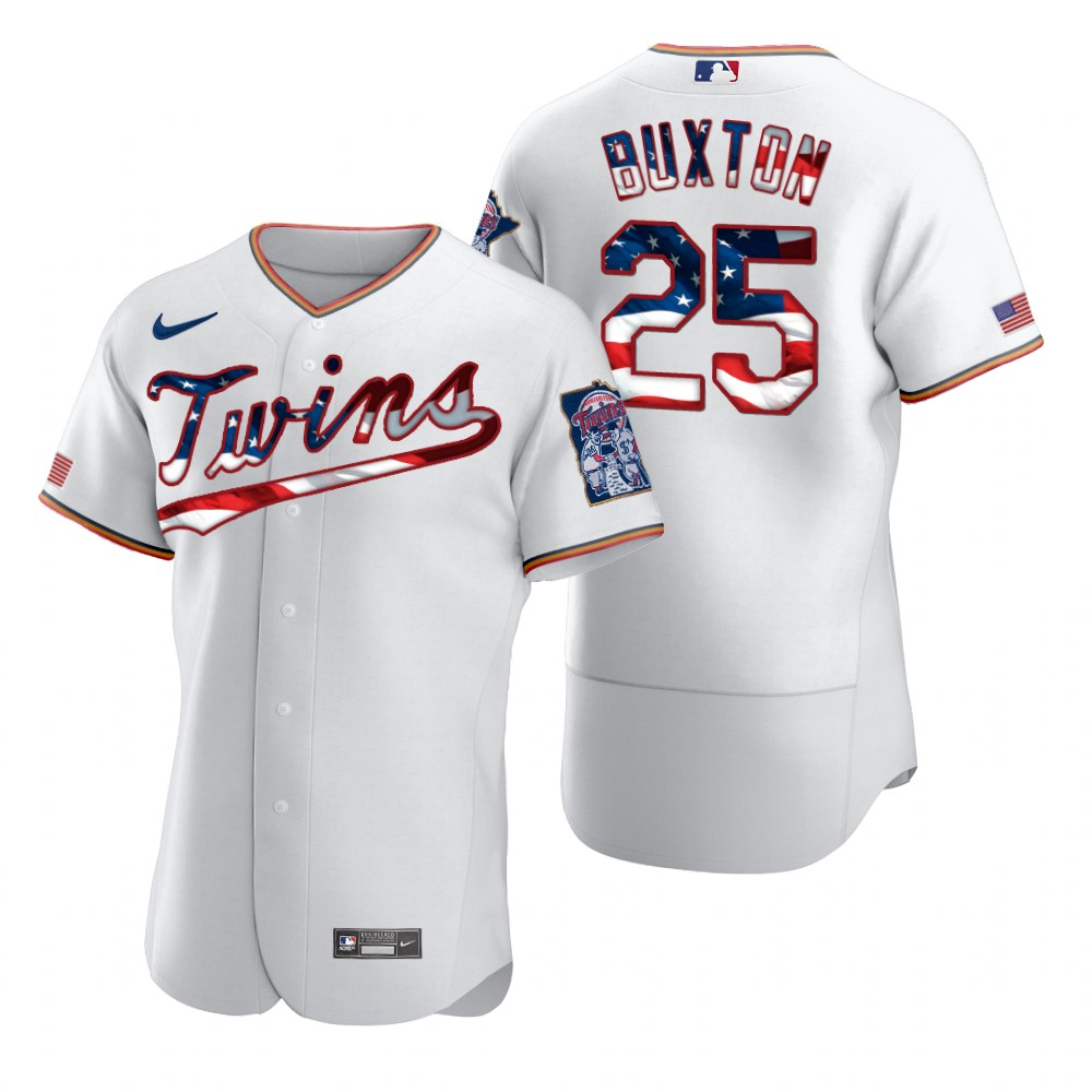 Wholesale Minnesota Twins 25 Byron Buxton Men Nike White Fluttering USA Flag Limited Edition Authentic MLB Jersey