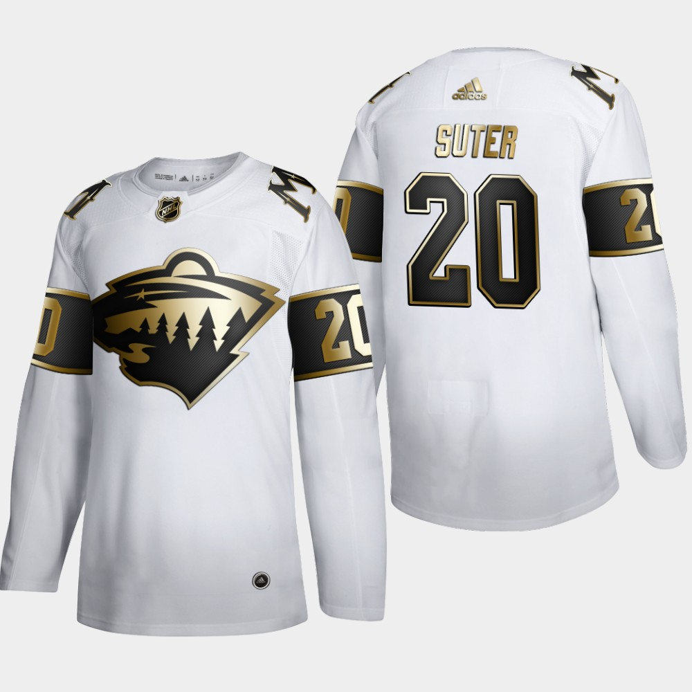 Wholesale Minnesota Wild 20 Ryan Suter Men Adidas White Golden Edition Limited Stitched NHL Jersey