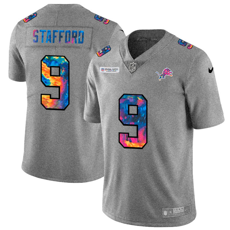 Wholesale NFL Detroit Lions 9 Matthew Stafford Men Nike MultiColor 2020 Crucial Catch Jersey Grey