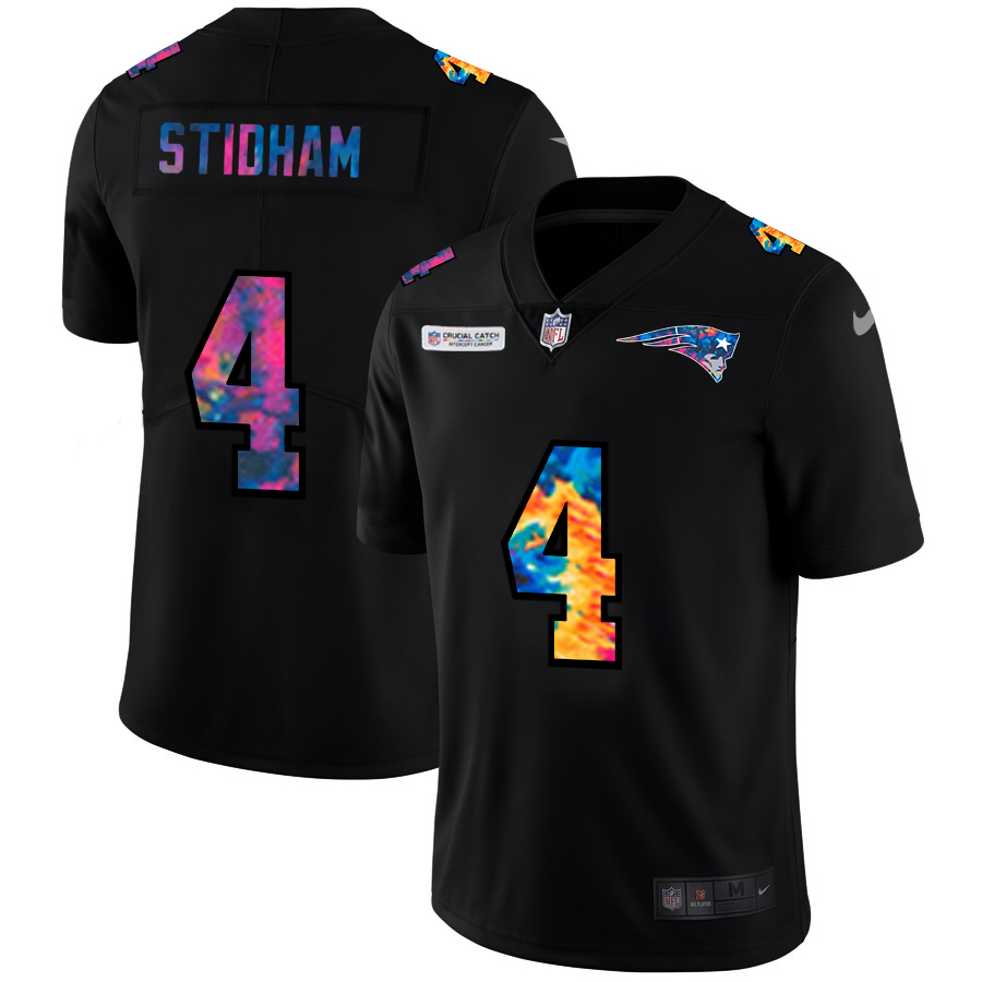 Wholesale NFL New England Patriots 4 Jarrett Stidham Men Nike MultiColor Black 2020 Crucial Catch Vapor Untouchable Limited Jersey
