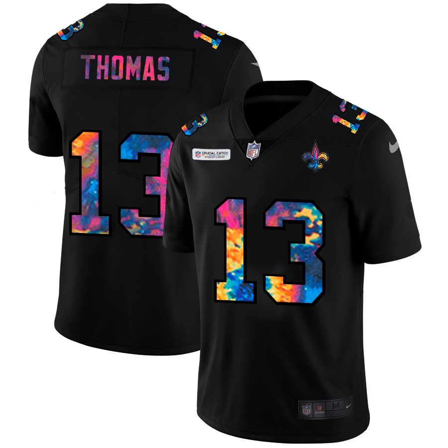 Wholesale NFL New Orleans Saints 13 Michael Thomas Men Nike MultiColor Black 2020 Crucial Catch Vapor Untouchable Limited Jersey
