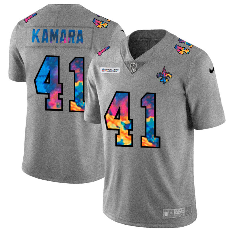 Wholesale NFL New Orleans Saints 41 Alvin Kamara Men Nike MultiColor 2020 Crucial Catch Jersey Grey