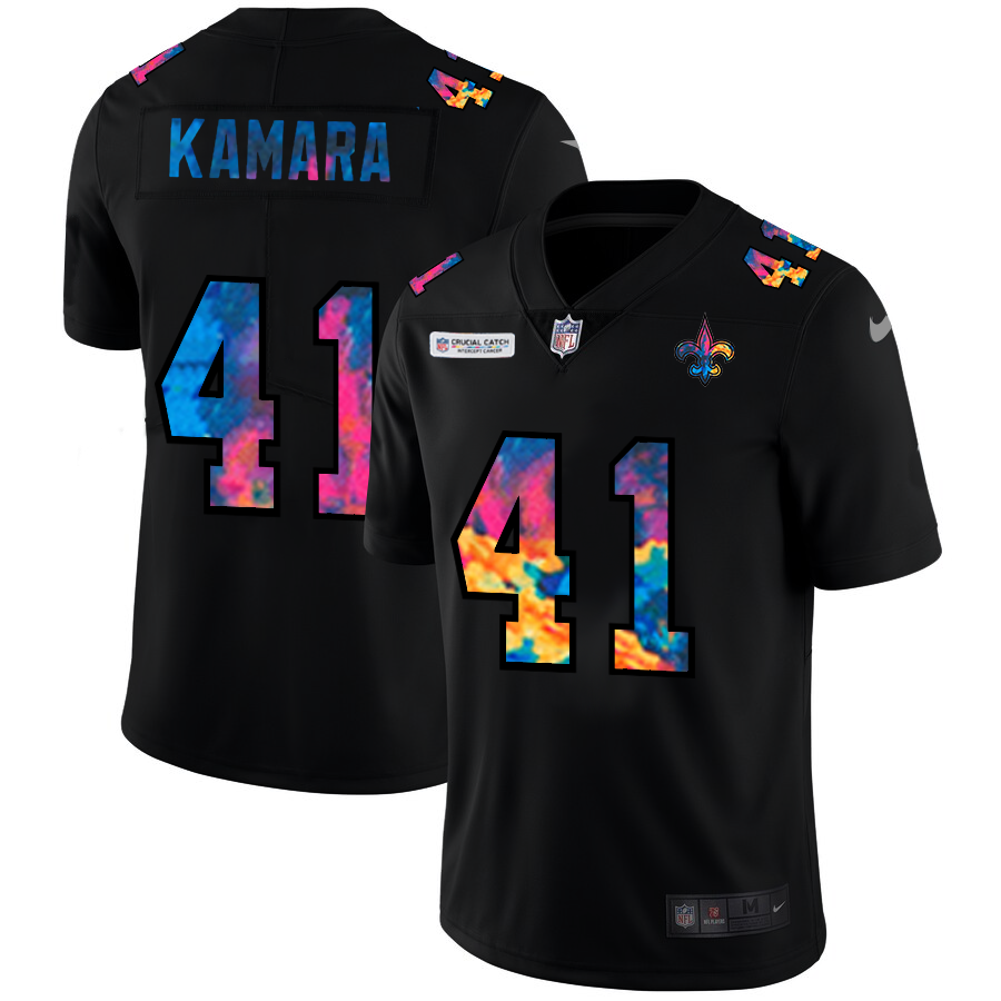 Wholesale NFL New Orleans Saints 41 Alvin Kamara Men Nike MultiColor Black 2020 Crucial Catch Vapor Untouchable Limited Jersey