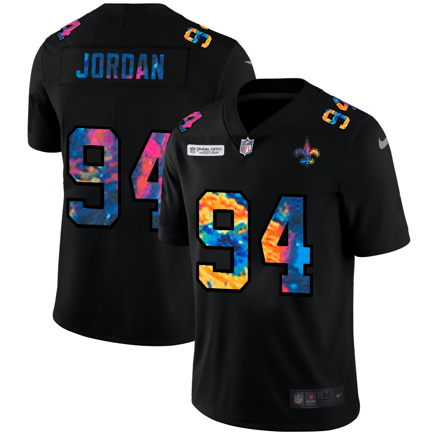 Wholesale NFL New Orleans Saints 94 Cameron Jordan Men Nike MultiColor Black 2020 Crucial Catch Vapor Untouchable Limited Jersey