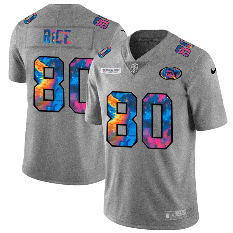 Cheap NFL San Francisco 49ers 80 Jerry Rice Men Nike MultiColor 2020 Crucial Catch Jersey Grey