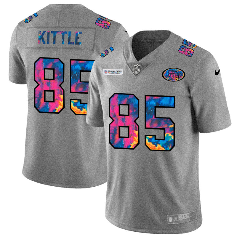 Cheap NFL San Francisco 49ers 85 George Kittle Men Nike MultiColor 2020 Crucial Catch Jersey Grey