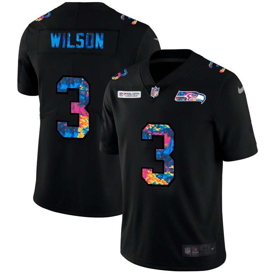 Wholesale NFL Seattle Seahawks 3 Russell Wilson Men Nike MultiColor Black 2020 Crucial Catch Vapor Untouchable Limited Jersey
