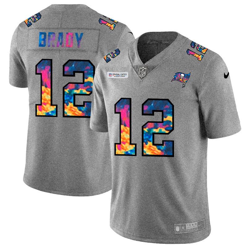 Wholesale NFL Tampa Bay Buccaneers 12 Tom Brady Men Nike MultiColor 2020 Crucial Catch Jersey Grey