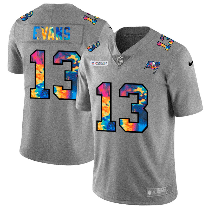 Wholesale NFL Tampa Bay Buccaneers 13 Mike Evans Men Nike MultiColor 2020 Crucial Catch Jersey Grey