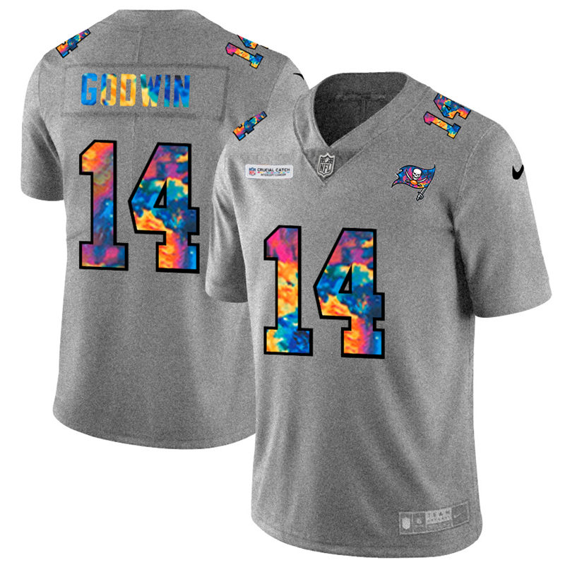 Wholesale NFL Tampa Bay Buccaneers 14 Chris Godwin Men Nike MultiColor 2020 Crucial Catch Jersey Grey