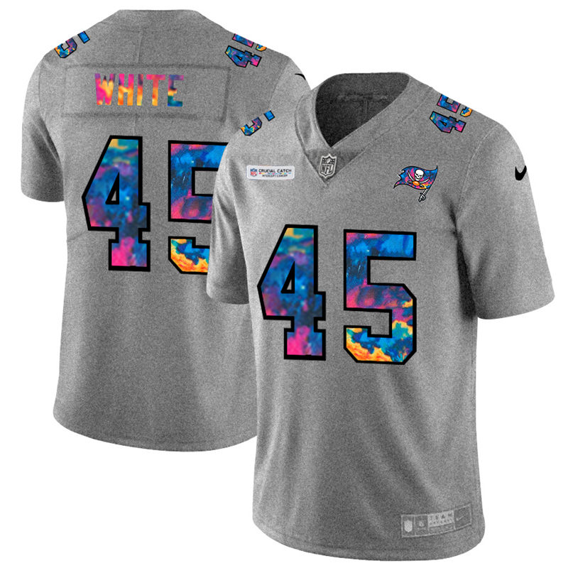 Cheap NFL Tampa Bay Buccaneers 45 Devin White Men Nike MultiColor 2020 Crucial Catch Jersey Grey
