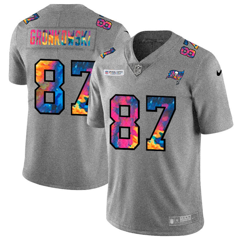 Wholesale NFL Tampa Bay Buccaneers 87 Rob Gronkowski Men Nike MultiColor 2020 Crucial Catch Jersey Grey