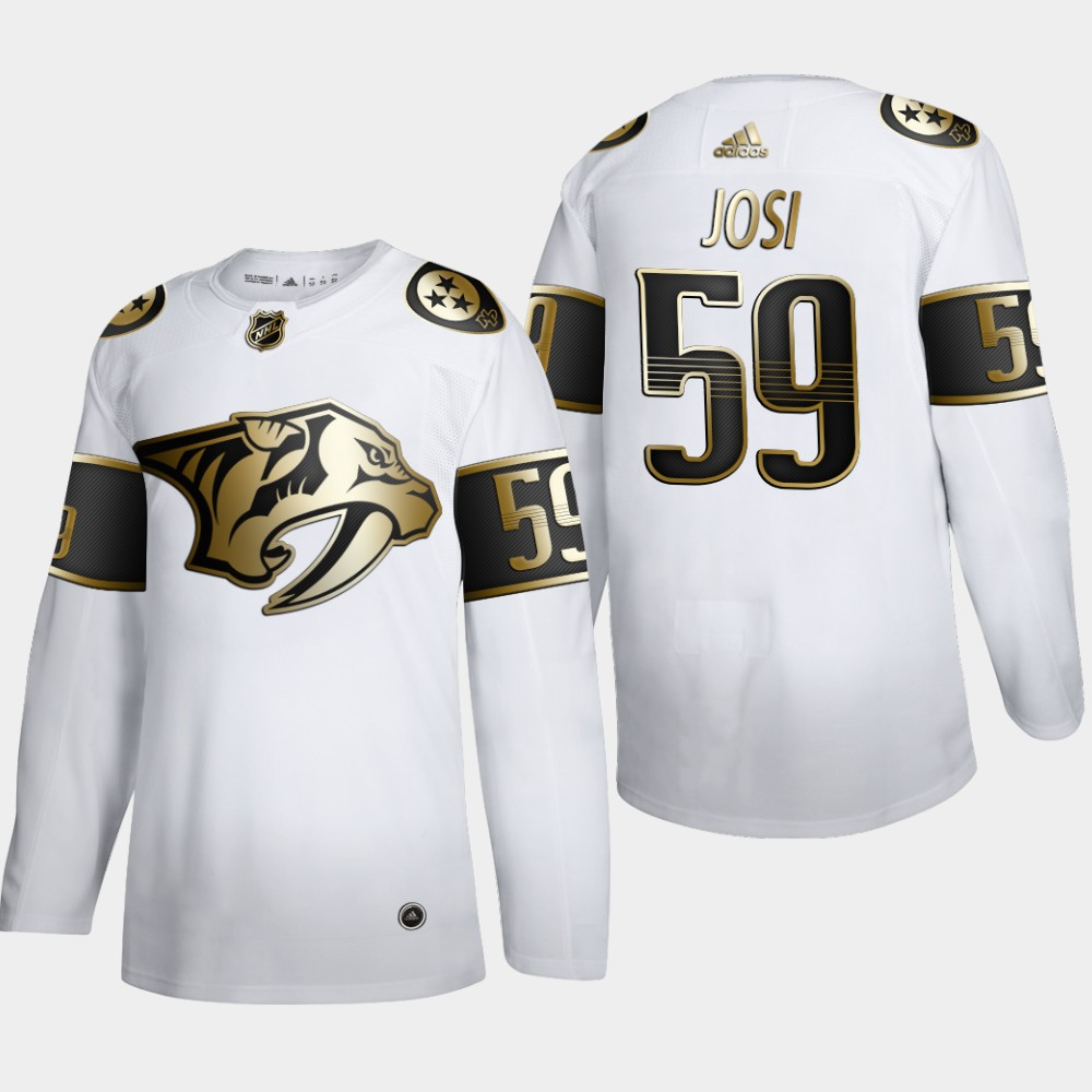 Cheap Nashville Predators 59 Roman Josi Men Adidas White Golden Edition Limited Stitched NHL Jersey