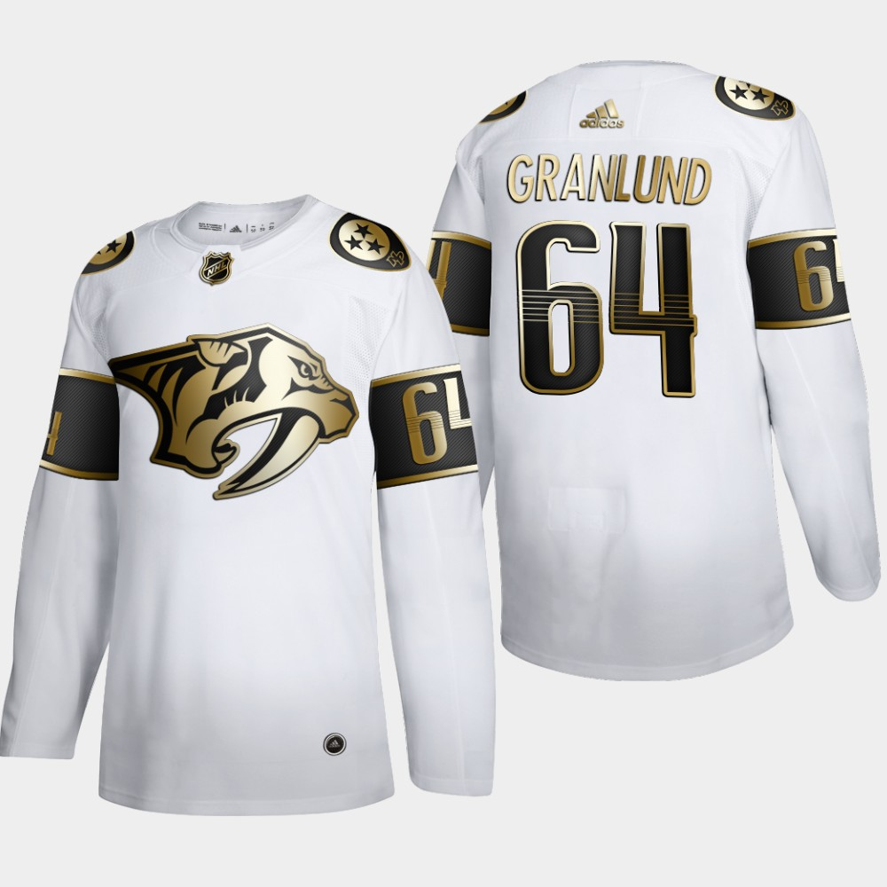 Cheap Nashville Predators 64 Mikael Granlund Men Adidas White Golden Edition Limited Stitched NHL Jersey