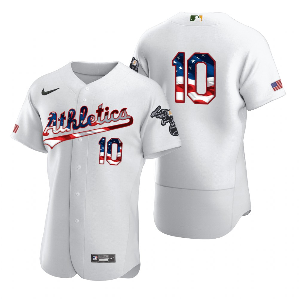 Wholesale Oakland Athletics 10 Marcus Semien Men Nike White Fluttering USA Flag Limited Edition Authentic MLB Jersey