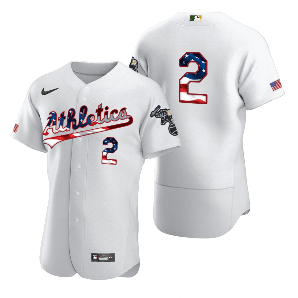 Wholesale Oakland Athletics 2 Khris Davis Men Nike White Fluttering USA Flag Limited Edition Authentic MLB Jersey