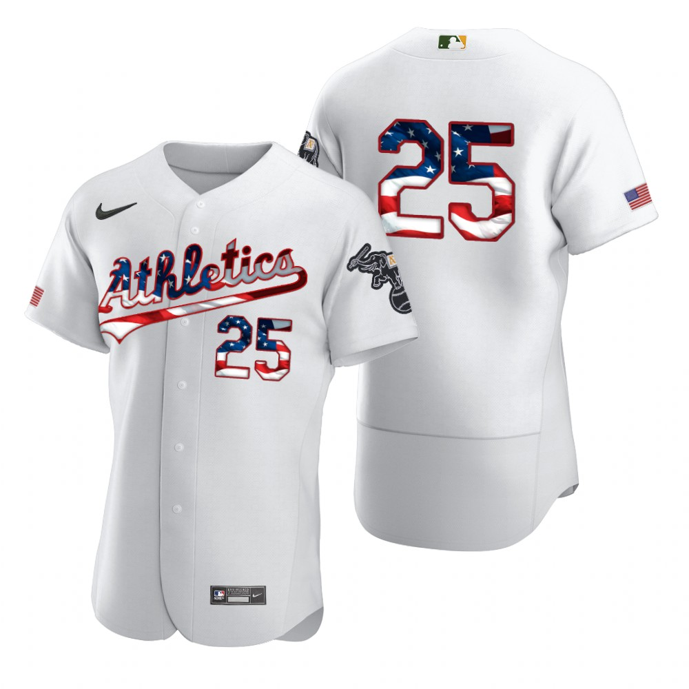 Wholesale Oakland Athletics 25 Stephen Piscotty Men Nike White Fluttering USA Flag Limited Edition Authentic MLB Jersey
