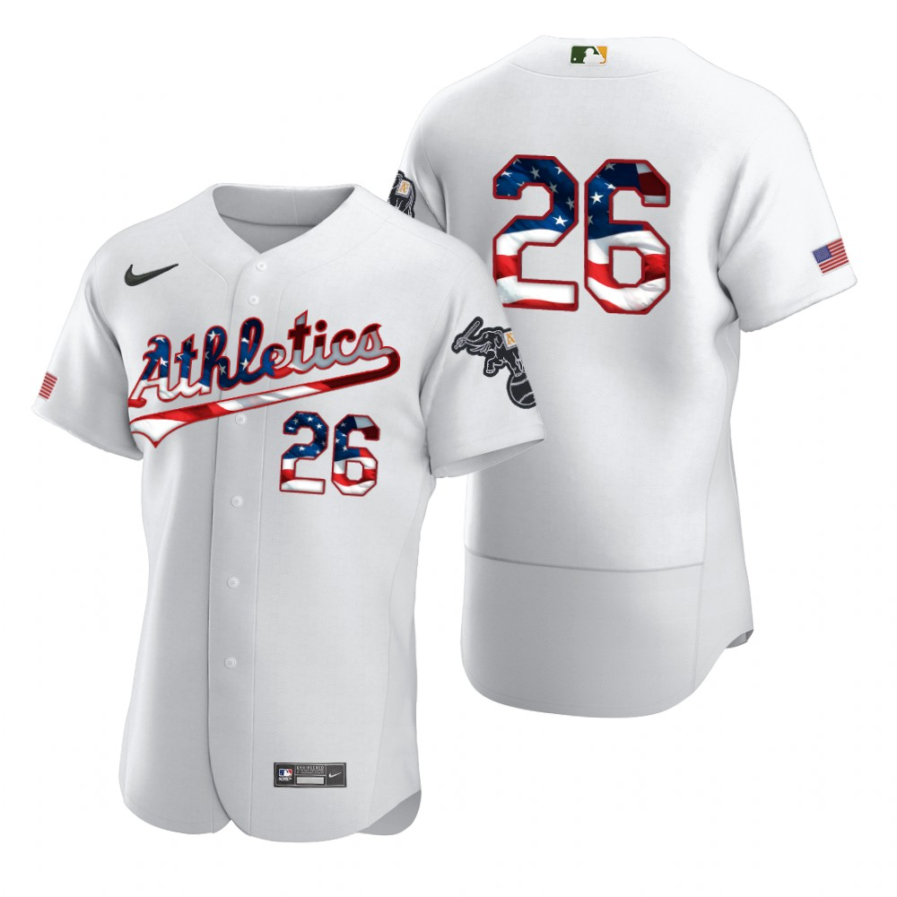 Wholesale Oakland Athletics 26 Matt Chapman Men Nike White Fluttering USA Flag Limited Edition Authentic MLB Jersey