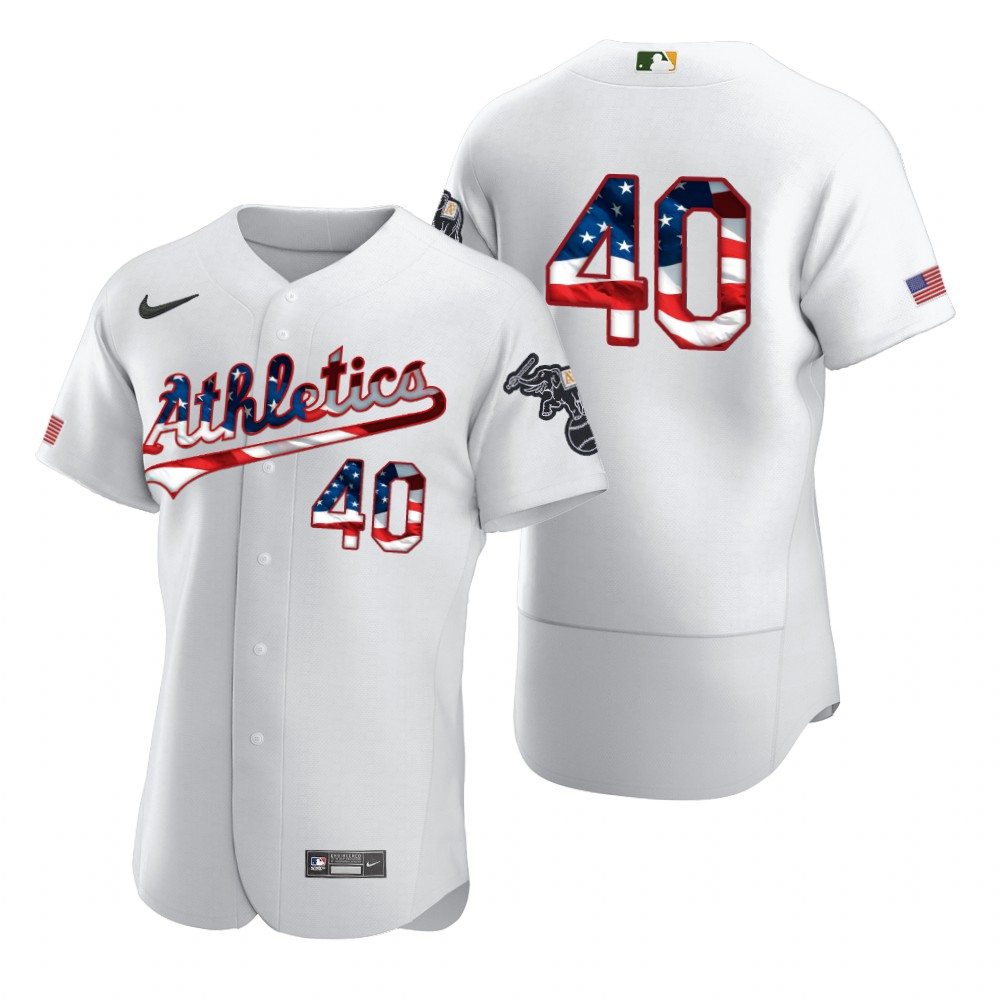 Wholesale Oakland Athletics 40 Chris Bassitt Men Nike White Fluttering USA Flag Limited Edition Authentic MLB Jersey
