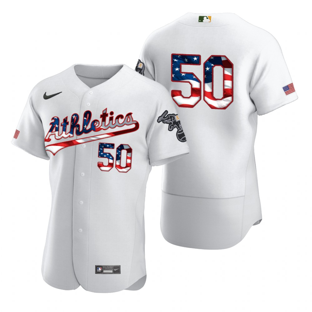 Wholesale Oakland Athletics 50 Mike Fiers Men Nike White Fluttering USA Flag Limited Edition Authentic MLB Jersey