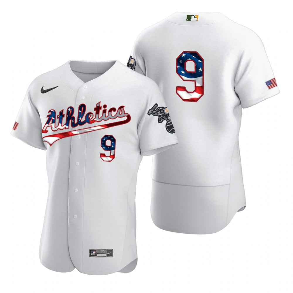 Wholesale Oakland Athletics 9 Reggie Jackson Men Nike White Fluttering USA Flag Limited Edition Authentic MLB Jersey