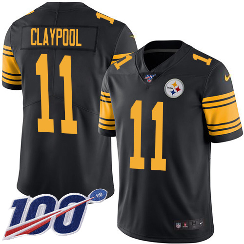 Wholesale Pittsburgh Steelers 11 Chase Claypool Black Men Stitched NFL Limited Rush 100th Season Jersey