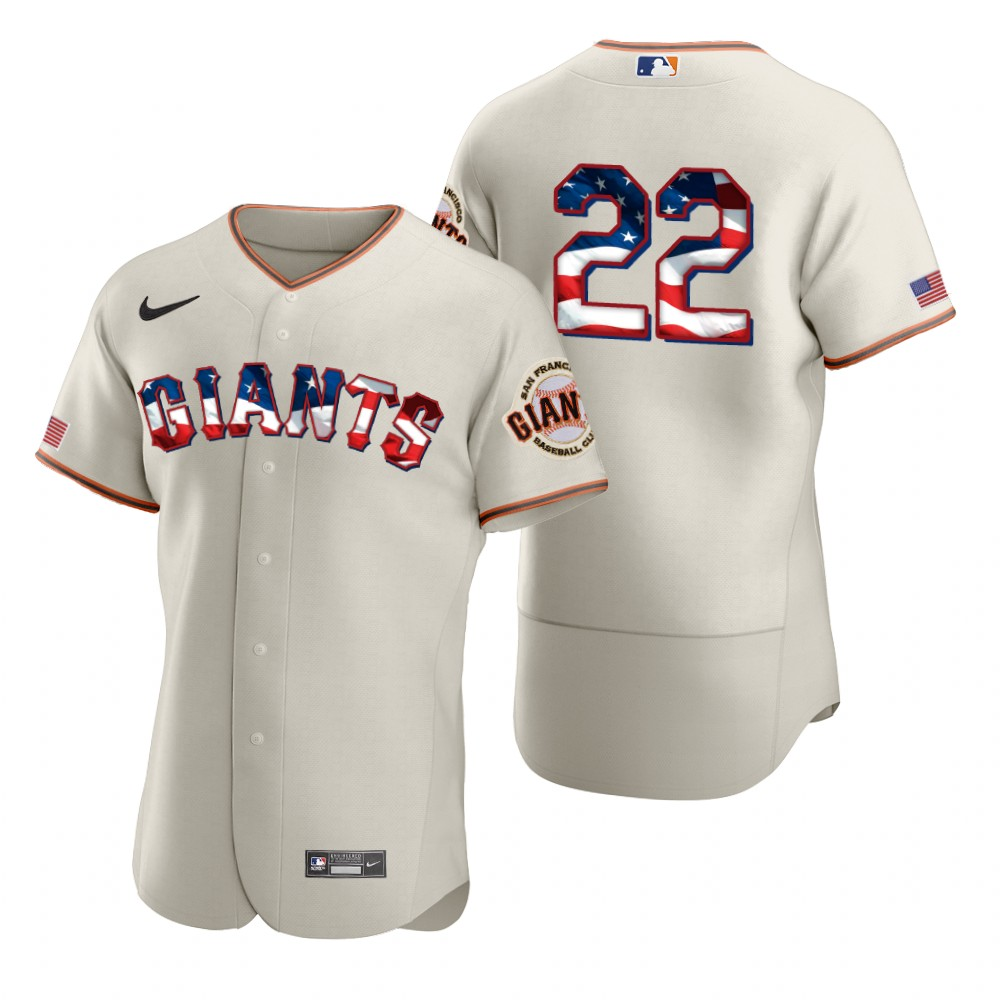 Cheap San Francisco Giants 22 Will Clark Men Nike Cream Fluttering USA Flag Limited Edition Authentic MLB Jersey