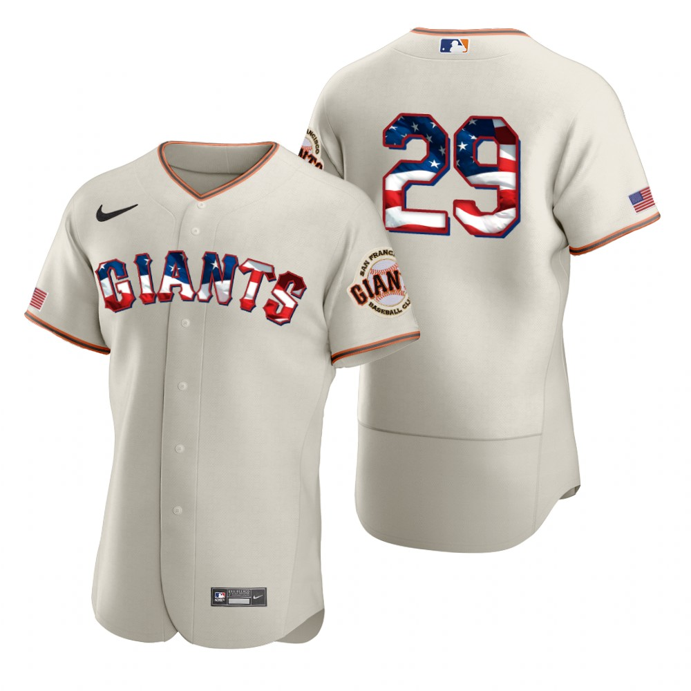 Cheap San Francisco Giants 29 Jeff Samardzija Men Nike Cream Fluttering USA Flag Limited Edition Authentic MLB Jersey