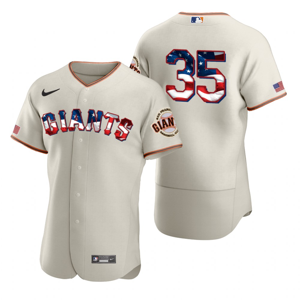 Cheap San Francisco Giants 35 Brandon Crawford Men Nike Cream Fluttering USA Flag Limited Edition Authentic MLB Jersey