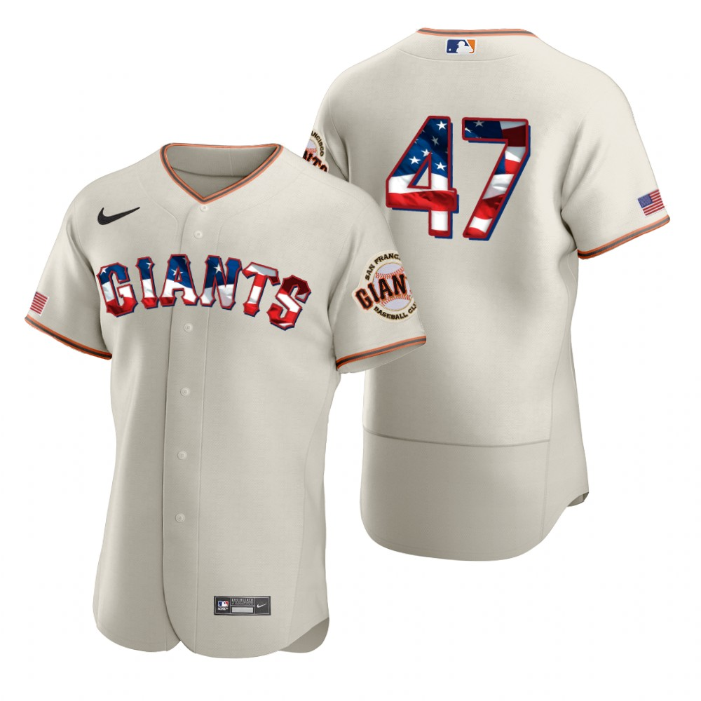 Cheap San Francisco Giants 47 Johnny Cueto Men Nike Cream Fluttering USA Flag Limited Edition Authentic MLB Jersey