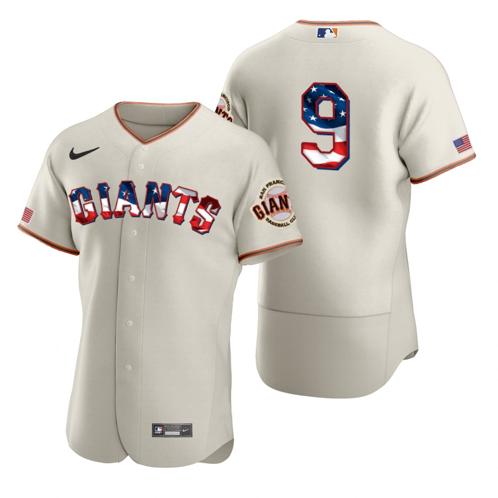 Cheap San Francisco Giants 9 Brandon Belt Men Nike Cream Fluttering USA Flag Limited Edition Authentic MLB Jersey