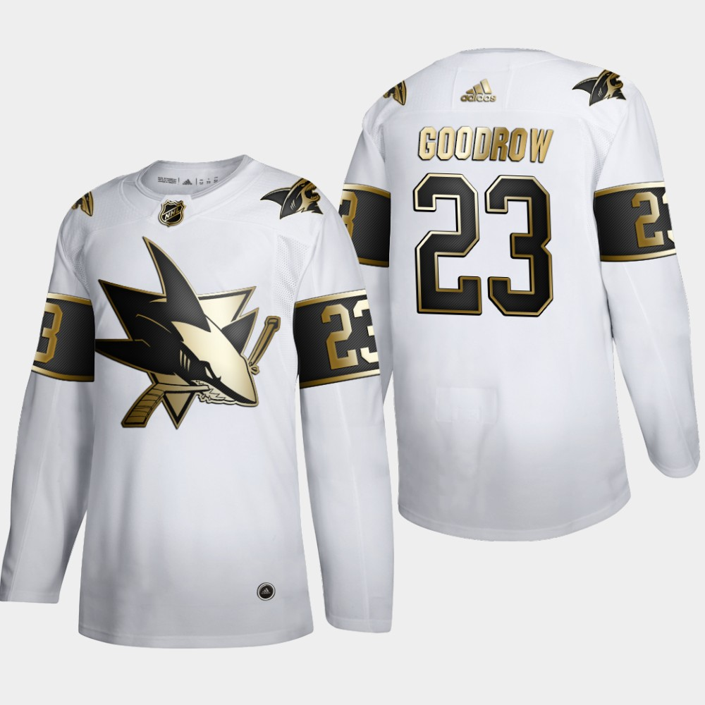 Cheap San Jose Sharks 23 Barclay Goodrow Men Adidas White Golden Edition Limited Stitched NHL Jersey