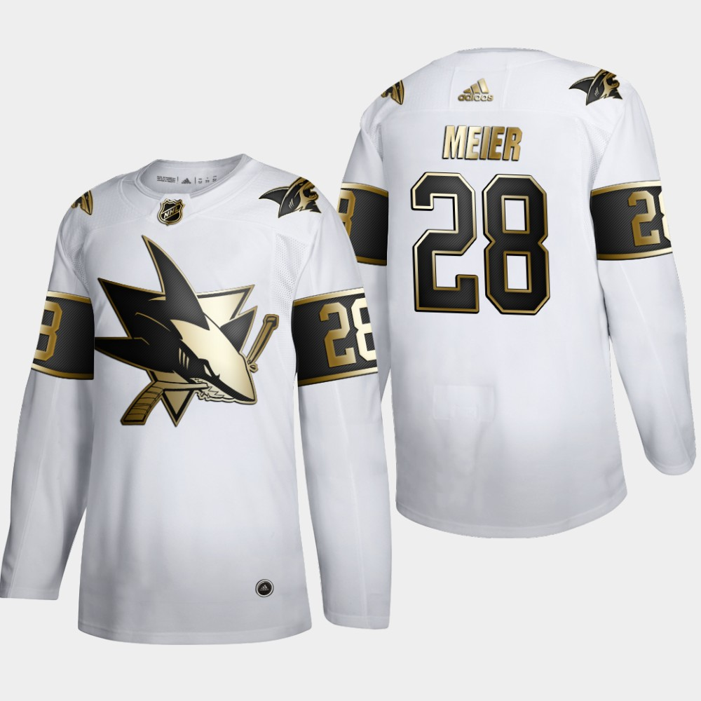 Cheap San Jose Sharks 28 Timo Meier Men Adidas White Golden Edition Limited Stitched NHL Jersey
