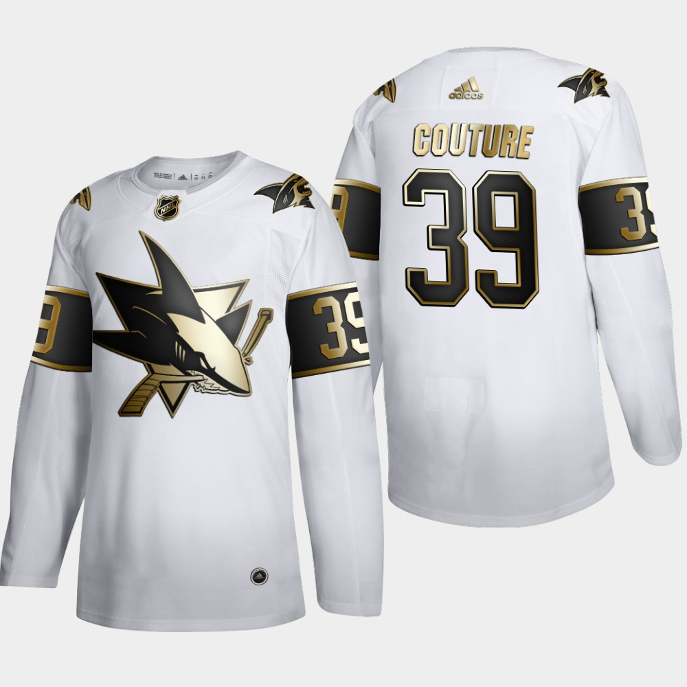 Cheap San Jose Sharks 39 Logan Couture Men Adidas White Golden Edition Limited Stitched NHL Jersey
