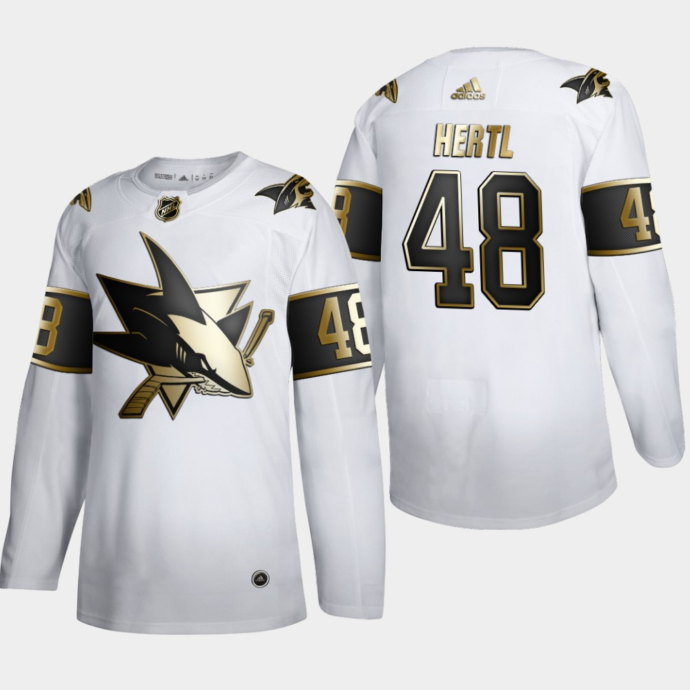 Cheap San Jose Sharks 48 Tomas Hertl Men Adidas White Golden Edition Limited Stitched NHL Jersey