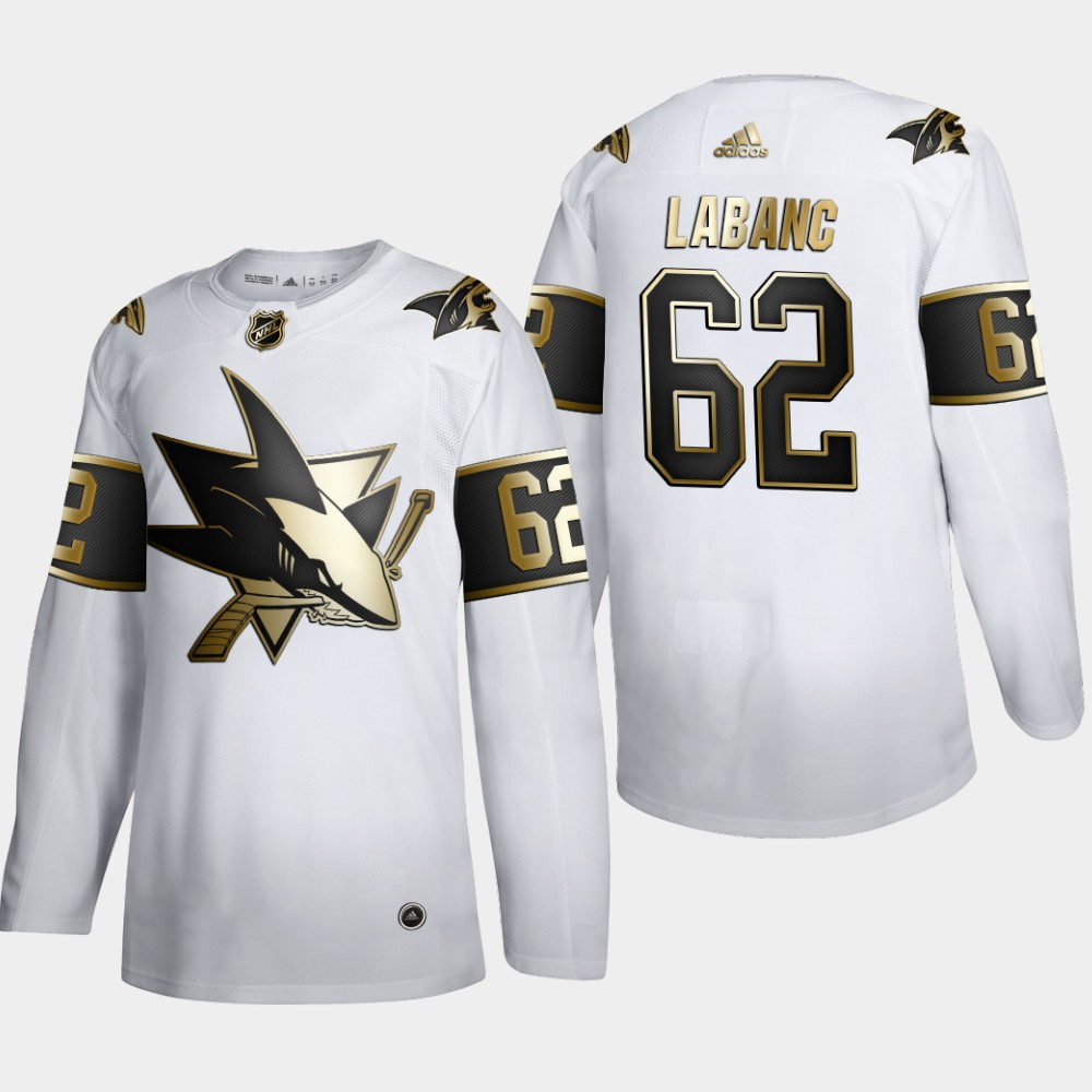 Cheap San Jose Sharks 62 Kevin Labanc Men Adidas White Golden Edition Limited Stitched NHL Jersey
