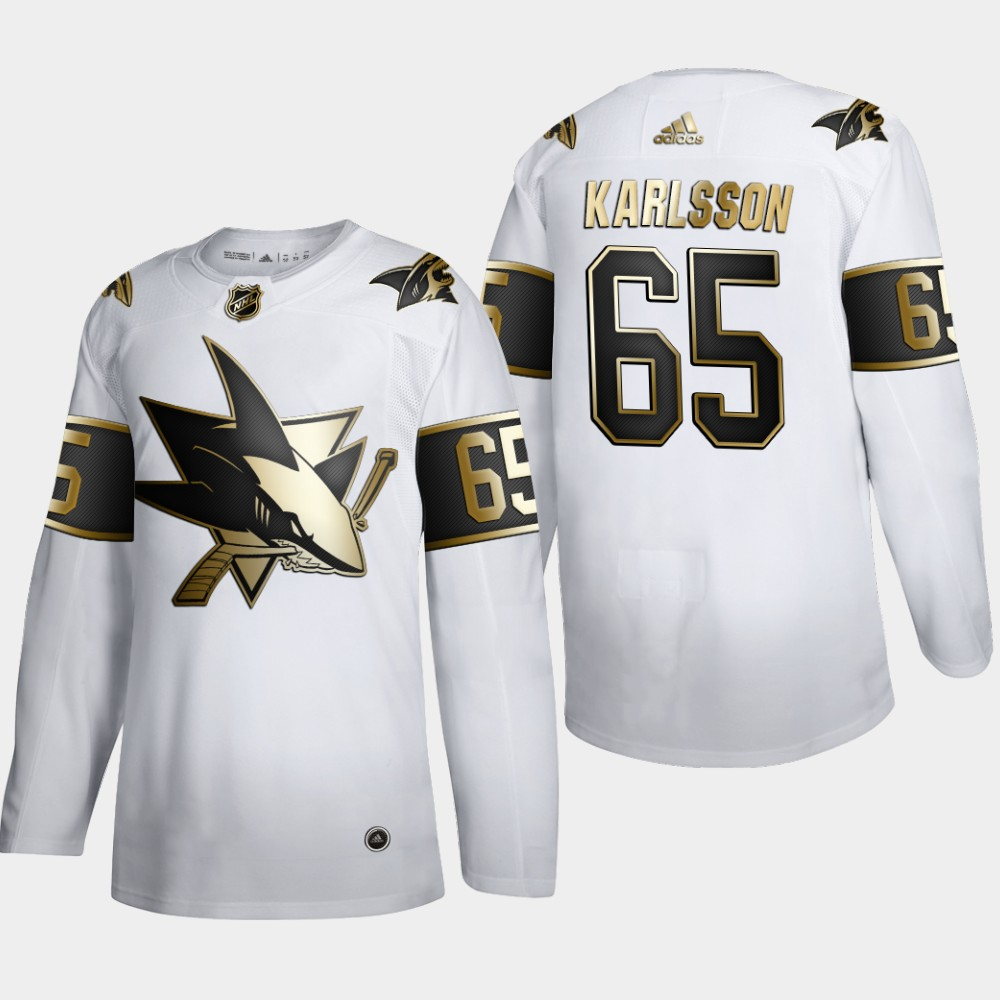 Cheap San Jose Sharks 65 Erik Karlsson Men Adidas White Golden Edition Limited Stitched NHL Jersey