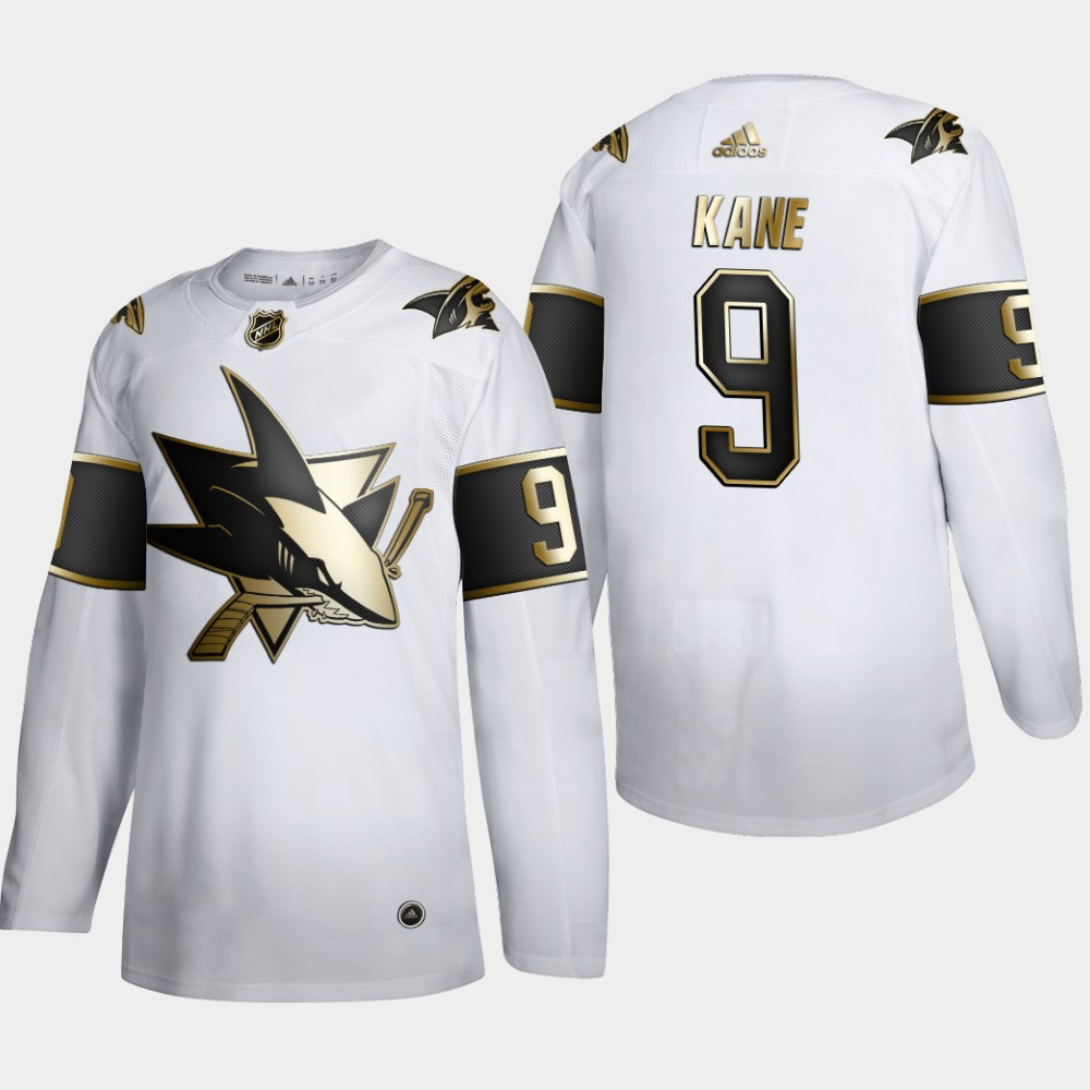 Cheap San Jose Sharks 9 Evander Kane Men Adidas White Golden Edition Limited Stitched NHL Jersey