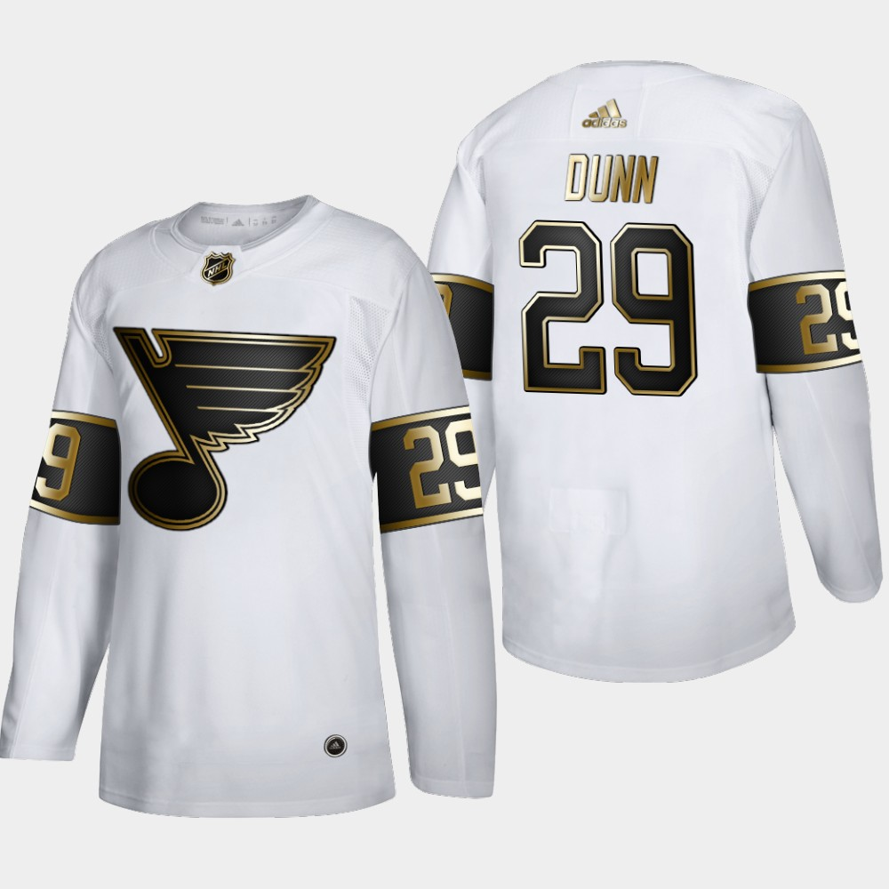 Cheap St. Louis Blues 29 Vince Dunn Men Adidas White Golden Edition Limited Stitched NHL Jersey